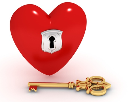 Red heart with keyhole, golden key near photo