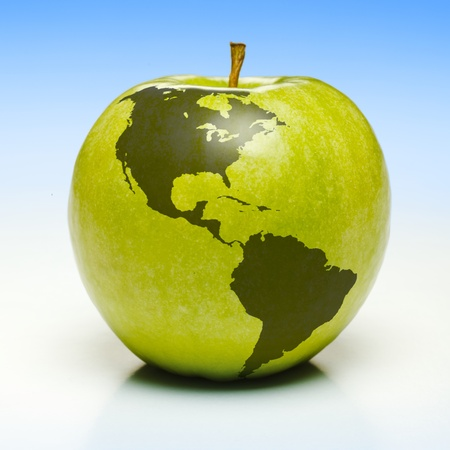 americas: Whole green apple with planet earth map applied (americas)