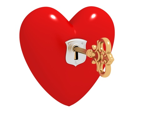Red heart with keyhole and golden key inside photo