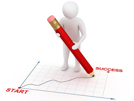 3d man drawing graphic from start to success with red pencil. Growth concept Stock Photo - 9566144