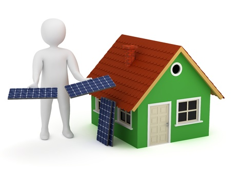 3d man offering solar panels for green house. Alternative, renewable energy concept photo