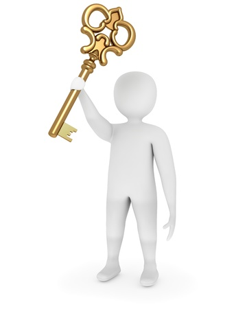 3d man showing raised golden key of solution photo