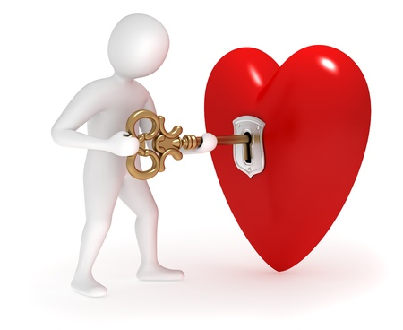 3d man opening big heart with golden key Stock Photo - 9566141