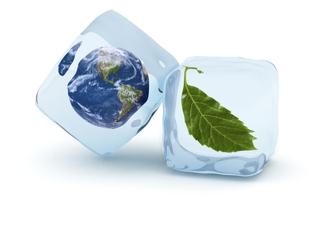 Earth globe and green leaf frost in ice cube. Glaciation concept