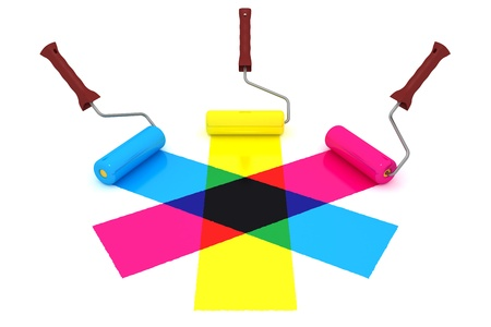 color mixing: Cyan, magenta and yellow paint rolls painting mixed color stripes Stock Photo