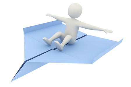 3d man flying on blue paper airplane. Freedom, travel or balancing concept