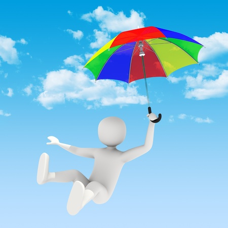 johny: 3d man flying in the sky with colorful open umbrella