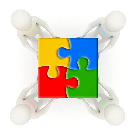 Four 3d men holding colorful, assembled jigsaw puzzle pieces Stock Photo
