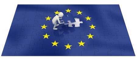 final piece of puzzle: 3d man finalizing the European Union flag puzzle with the final piece
