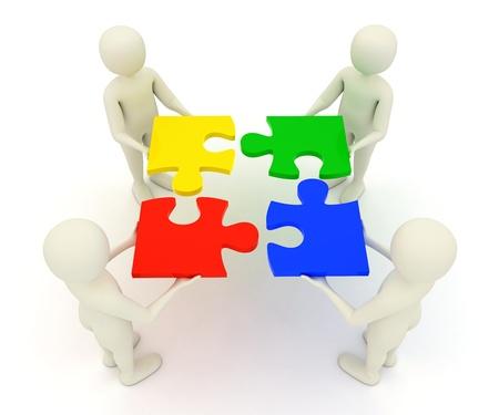 Four 3d men assembling colorful, assembled jigsaw puzzle pieces 스톡 콘텐츠