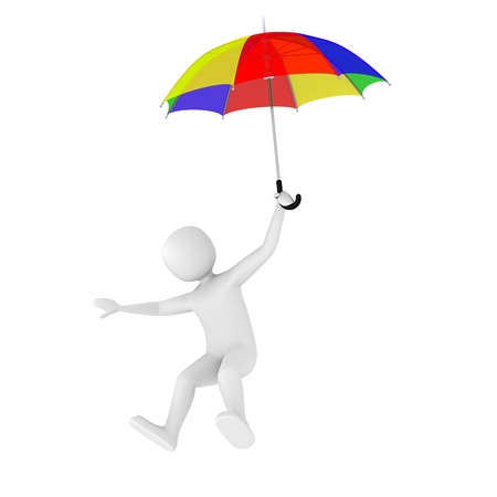 3d man flying with colorful open umbrella Stock Photo - 9626182