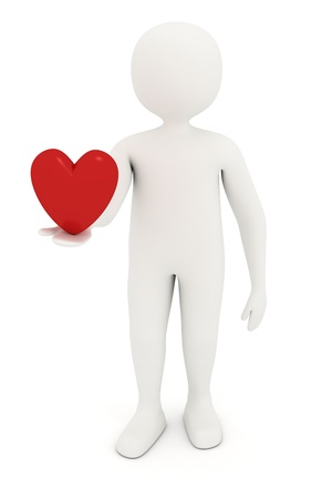3d man offering heart in his hand photo