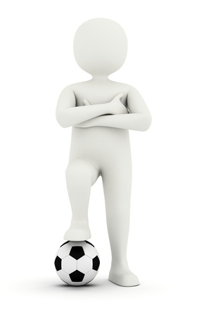 johny: 3d man standing with arms folded and holding foot in soccer ball Stock Photo