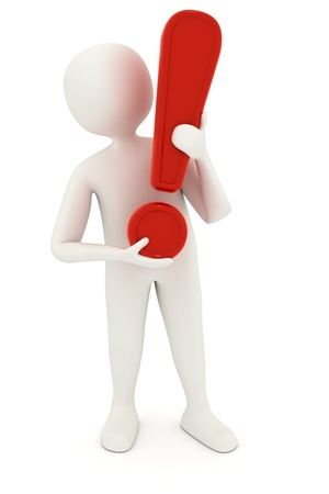 3d man holding big red exclamation mark