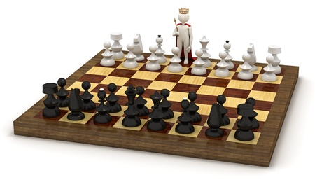 3d man on chess board in the role of the king photo
