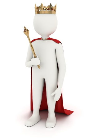 johny: 3d man as king with crown and red cloak Stock Photo