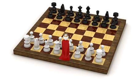 johny: 3d man on chess board in the role of the king