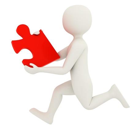 hombre 3D con pieza de puzzle rojo solo Foto de archivo