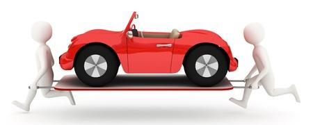 Dos hombres blancos de 3d con auto rojo rota en camilla