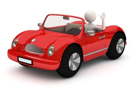 vezetés: 3d fehér férfi vezetés, megy piros autó, integetett, emelt kézzel Stock fotó