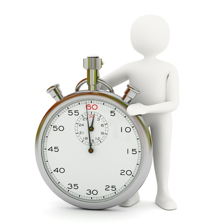 White 3d man with big stopwatch showing 1 minute