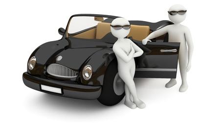 garde du corps: Hommes 3d confiants dans les lunettes solaires, comme agents ou tuteurs, debout pr�s de voiture noire �l�gante