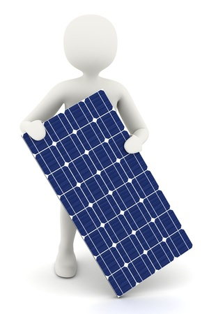 3d man holding one piece of solar panel