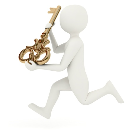 johny: White 3d man running with old style big golden key