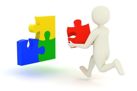 jigsaws: Bianco uomo 3d che corre al problema con il pezzo mancante del puzzle Archivio Fotografico