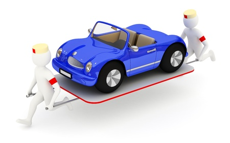 3d nurses running with blue car on stretcher 스톡 콘텐츠