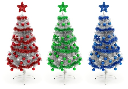 Red, green and blue, decorated silver Christmas tree Stock Photo - 10658867
