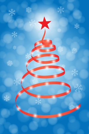 Stylized christmas tree illustration with lights Stock Vector - 10658872
