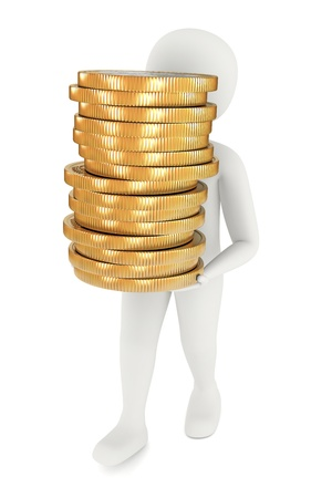 3d man carrying stack of big golden coins 스톡 콘텐츠
