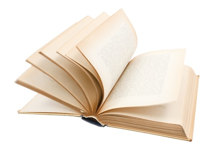 Fast turning the pages of old book