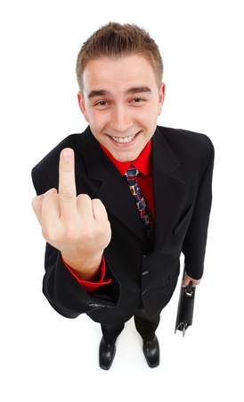 cynical: Happy, cynical businessman showing middle-finger. High angle view