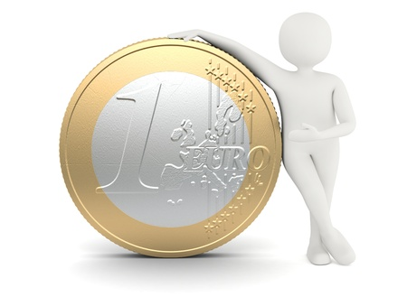 johny: 3d white man standing near big size one euro coin