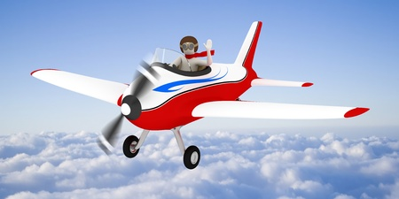 johny: 3d white man flying with plane high in the sky, over the clouds Stock Photo