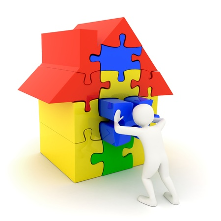 3d white man pushing in place the last piece of a colorful puzzle house Stock Photo