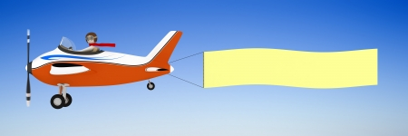 empty banner: 3d man pulling clear banner with airplane Stock Photo