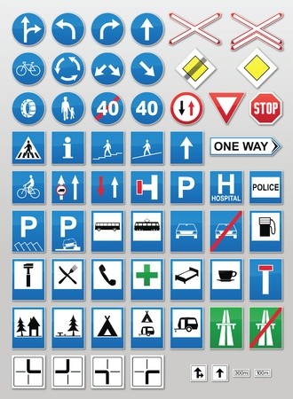 cars parking: Traffic sign collection: Information Illustration