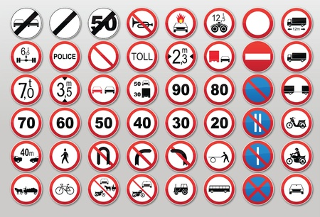 roundabout: Traffic sign collection: Prohibit and restrict