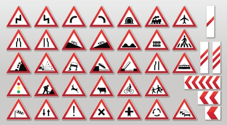 Traffic sign collection: Warnings Stock Vector - 10833647