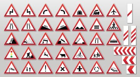 eisenbahn: Verkehrsschild-Sammlung: Warnungen Illustration