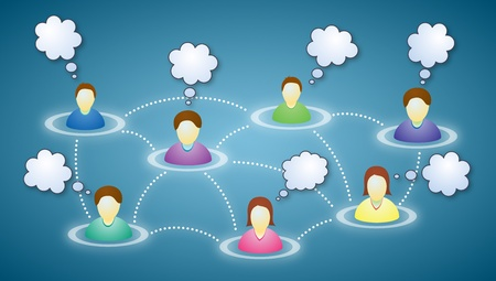 somebody: Illustration of connected social network members with blank faces and text clouds