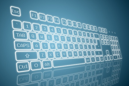 computer keyboard keys: Virtual keyboard in perspective view, glowing keys and reflection on blue background