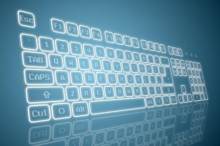Virtueel toetsenbord in perspectief bekijken, gloeiend toetsen en reflectie op een blauwe achtergrond