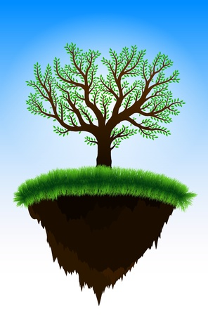 Floating island against clear blue sky, grass and tree growing on the surface Stock Vector - 10833648