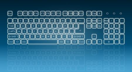 Teclado virtual en pantalla, teclas brillantes y la reflexión sobre fondo azul