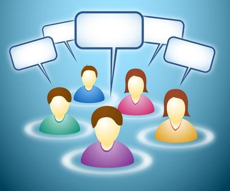 社会的なネットワークのメンバー空白面とテキスト ボックスの図  イラスト・ベクター素材
