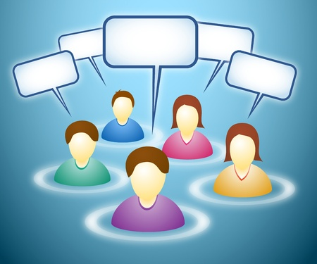 Illustration of social network members with blank faces and text boxes